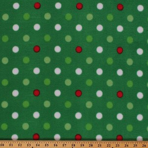 fleece green red white polka dots on green christmas holiday fleece fabric print by the yard
