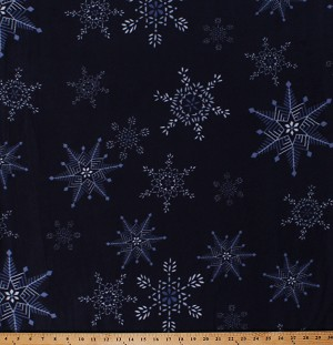 Fleece (not for masks) Snowflakes Snow on Navy Blue Christmas Winter Holidays Fleece Fabric Print by the Yard (A342.13)