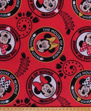Fleece Minnie Mouse Faces Expressions The House of Minnie Disney Cartoon Characters Circles Flowers Hearts Red Girls Fleece Fabric Print by the Yard (64552-D650710s)