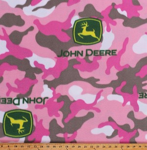 Fleece John Deere Logos on Pink Camouflage Camo Girls Fleece Fabric Print by the Yard (6540S-12B)