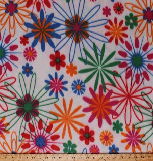 Fleece (not for masks) Flowers Pink Orange Blue Green Girls Floral on White Fleece Fabric Print by the Yard (4914F-11A)