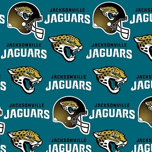 Fleece (not for masks) Jacksonville Jaguars Green NFL Football Sports Team Fleece Fabric Print by the yard (s6733df)