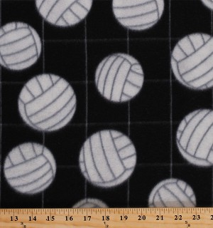 Fleece (not for masks) Volleyballs on Net Black Sports Fleece Fabric Print by the Yard (697-black)