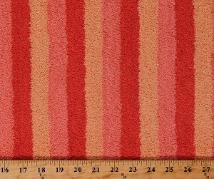 "Terry Cloth Coral/Peach Stripe Absorbent 60"" Wide Cotton Fabric by the Yard (97579)"