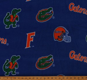 Fleece (not for masks) University of Florida Gators Blue College Fleece Fabric Print by the Yard (fl038)