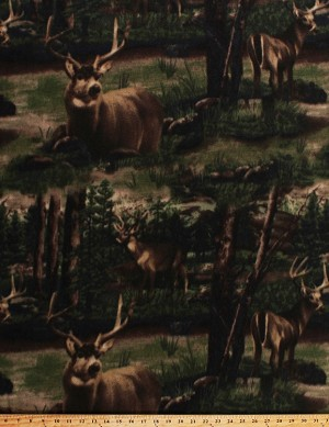Fleece Deer Buck Trees Tree Hunting Wildlife Forest Green Fleece Fabric Print by the Yard (adeer-forestm)