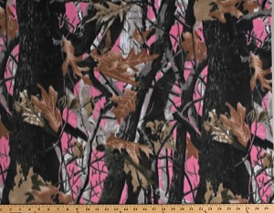 Fleece (not for masks) Deep Woods Camo Pink Camouflage Fleece Fabric Print by the Yard (A505.29)