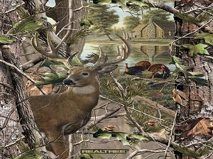 Fleece Realtree Deer and Turkey Panel Cabin Trees Woods Hunting Outdoors Wildlife Scenic Fleece Fabric Panel 1546