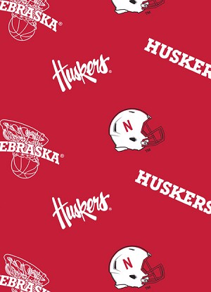 Fleece (not for masks) University of Nebraska Cornhuskers Red College Fleece Fabric Print by the Yard (neb-035)