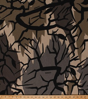 "60"" Predator™ Modern Camo Camouflage Tree Branches Sand Cotton Knit Fabric Print by the Yard (6727)"