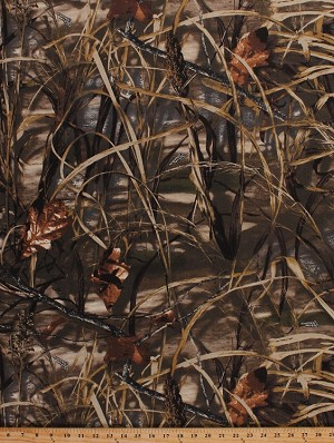 "60"" Realtree Cattails Marsh Camo Twill Advantage Max 4HD Camouflage Cotton Polyester Fabric By the Yard (3607I-1A)"