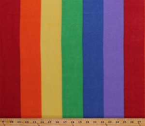 Fleece Rainbow Stripes Multi-Colored Striped Fleece Fabric Print by the Yard (4902M-12A-rainbow)