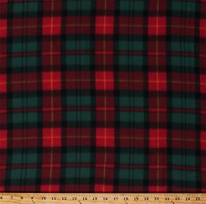 Fleece Christmas Plaid Red Green Holiday Plaid Check Winter Fleece Fabric Print by the Yard (6308M-10B-christmasplaid)