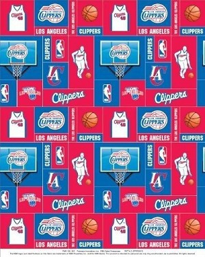 Fleece Los Angeles Clippers NBA Pro Basketball Sports Team Fleece Fabric Print by the yard (s012clipperss)