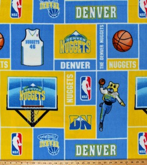 Fleece Denver Nuggets Squares NBA Pro Basketball Sports Team Fleece Fabric Print by the Yard (NUGG-012)