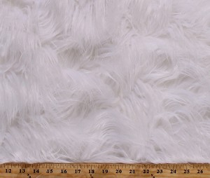 White Luxury Faux Long Hair Fur Acrylic Blend Fabric By the Yard (S-8N)