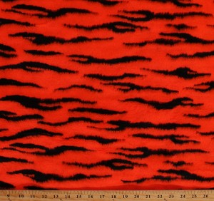 "Tiger Stripes Faux Fur Single-Sided Hot Orange Animal Print 60"" Wide Acrylic/Blend Fabric by the Yard (3792M-8J)"