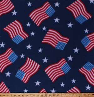 Fleece American Flags Stars and Stripes Patriotic Fourth of July Independence Day USA United States of America Red White and Blue Fleece Fabric Print by the Yard (4902M-12A-usa)