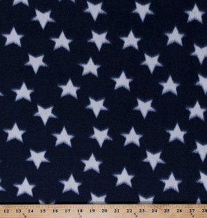 Fleece White Stars on Navy Blue Patriotic USA America Fourth of July Fleece Fabric Print by the Yard (onavystarss)