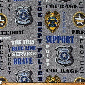 Fleece Police Department Law Enforcement Officers Badges Words Sayings Quotes Services Gray Fleece Fabric Print by the Yard (1196-PD)