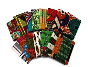 10 Fat Quarters - Waxed Africa Cottons Hand Painted Look Geometric Tribal Assorted African Wax Cotton Fabric (M491.14)