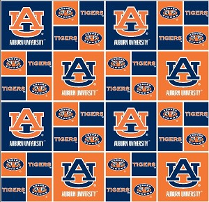 Cotton University of Auburn Tigers College Cotton Fabric Print - sau020s