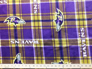 Fleece (not for masks) Baltimore Ravens Plaid NFL Football Fleece Fabric Print by the Yard (s6412df)