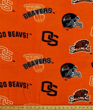 Fleece (not for masks) Oregon State University Beavers College Fleece Fabric Print by the yard