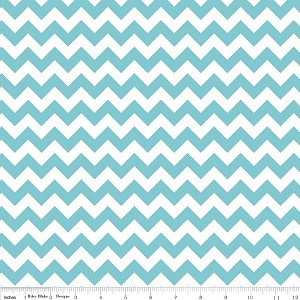 Riley Blake Small Chevron Aqua & White Striped Cotton Fabric Print by the Yard (C340-20)