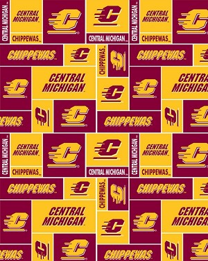 FAT QUARTER Cotton Central Michigan University Chippewas CMU Quality Quilters Cotton Fabric M415.03