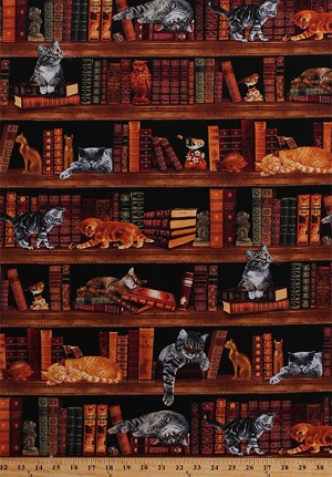 Cotton Cats Kittens Kitties Books Stacks Library Bookshelves Bookcase Bookworm Librarians Bibliophile Reader Animals Birds Owls Figurines Realistic Cats Feline Cotton Fabric Print by the Yard (CAT-C2863)