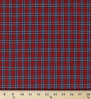 "Tartan Plaid Shirting Red 42"" Wide Dacron Polyester/Combed Cotton Yarn Dyed Fabric by the Yard (D157.25)"