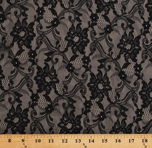 "Lace Black Floral Paisley Design 60"" Wide Polyester/Blend Dutch Lace Fabric by the Yard (7334T-7C)"