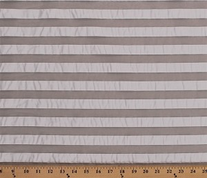 "58"" Off-White Sheer Shadow Stripe Bridal Fabric by the Yard (D170.45)"