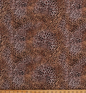 "Rayon Challis Leopard Print Jungle Animal Print 58"" Wide Fabric by the Yard (4449R-8A)"