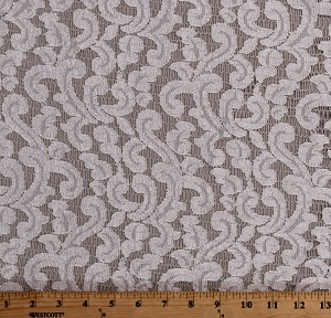 "Lace Ivory Open Lace with Swirl Design Slight Sheen 60"" Wide Polyester/Blend Fabric by the Yard (7334T-7C)"