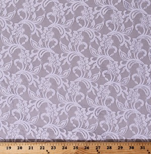"Lace Off-White Tightly Woven Floral Leaf Pattern 54"" Wide Polyester/Blend Fabric by the Yard (7334T-7C)"