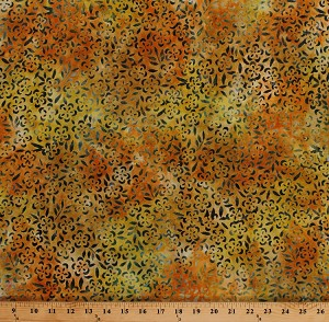 "44"" Rayon Bali Batik Green Orange Yellow Flowers Floral Apparel Fabric by the Yard (16300)"