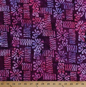 "44"" Rayon Bali Batik Block Stamped Purple Pink Hawaiian-Look Tropical Fabric by the Yard (16281)"
