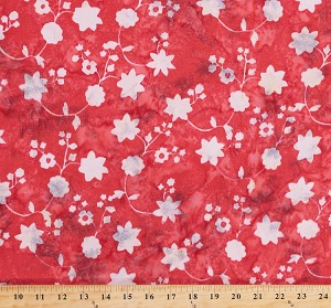"Rayon Batik Floral Cream Gray Flowers on Scarlet Flame Red 44"" Wide Hand-Dyed Bali Batik Fabric by the Yard (P2952-67-FLAME)"