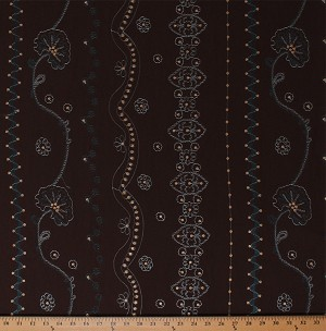 "54"" Embroidered Flowers Floral Vines Sequins Embellishments on Dark Chocolate Brown Light to Medium Weight Polyblend Fabric by the Yard (6146G-11K-brown)"