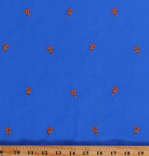 "Vibrant Blue Cotton Twill with Embroidered Pizza Slices Food 60"" Wide Fabric by the Yard (6921L-2C-pizza)"