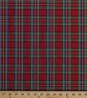 "Double-Face 2-Sided Yarn-Dyed Taffeta Red Green Holiday Plaid with Metallic Gold 60"" Wide Polyester/Lurex Fabric by the Yard (7150M-4C)"