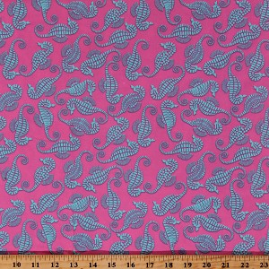 "Cotton Twill Turquoise Seahorses Beach Ocean Animals on Pink 60"" Wide Home Decor Weight Fabric by the Yard (6921L-2C-seahorse)"