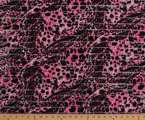 "52"" Wide Ruffled Pink Cheetah Print 1"" Ruffles 2-Way Stretch Fabric by the Yard (D253.05)"