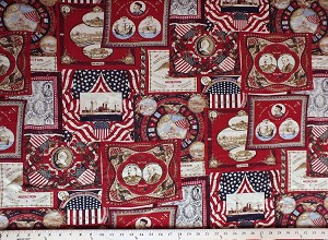 "55"" Linen Blend Patriotic USA United States American History Presidents Americana Historical Reproduction Home Decor Decorator Weight Fabric by the Yard (D256.11)"