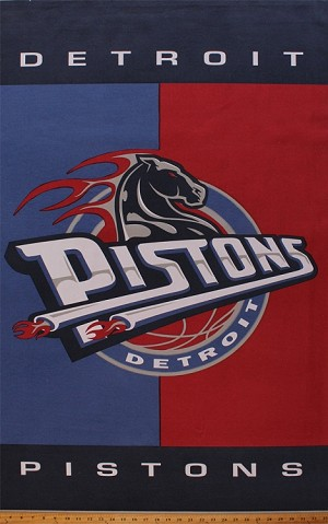 "NBA® Cotton Duck Fabric Panel - Detroit Pistons Horse - 30"" X 48"""
