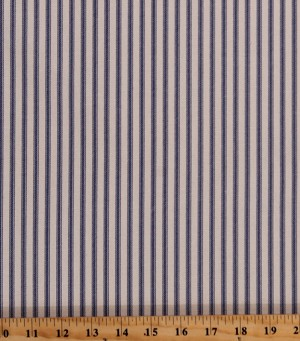 "Ticking Stripe Blue on Natural 54"" Wide Home Decorator Yarn-Dyed Cotton Duck Fabric Print by the Yard (HD0118-593)"