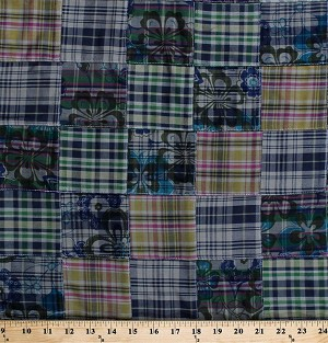 "43"" Madras Plaid Patchwork Flowers Floral Green Blue Yellow Pink Woven Shirting Fabric by the Yard (D274.35)"