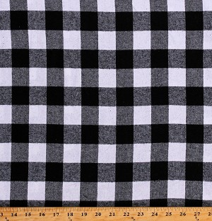 "Flannel Black and White Buffalo Plaid 1.25"" Checks 55"" Wide Cotton Flannel Fabric by the Yard (OP1205-592)"